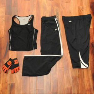 NIKE BUNDLE: Black/White Tank, Capris, Pants Sz L